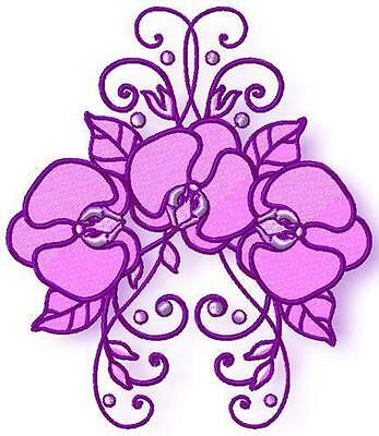 Purple Floral 10 Machine Embroidery Designs Cd 2 Sizes Included