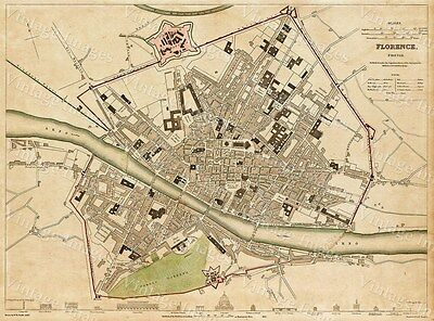 Old map of Florence Italy 1835 GIANT HISTORIC Florence map Vintage SDUK Map