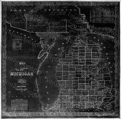 HUGE 1856 Old Map of MICHIGAN, OLD STATE MICHIGAN, MICHIGAN WALL MAP BLUEPRINT