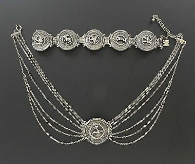VTG Medallion 925 Silver Chain Choker Necklace Bracelet Set Art Deco Deer Eagle