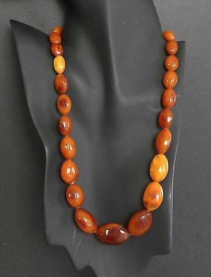 "Vtg Baltic Butterscotch Amber Graduated Bead Necklace 22"" Old Antique Art Deco"