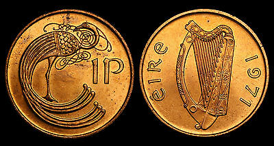 1971 Ireland 1 Pingin Penny Coin BU Full Red Luster . KM# 20 - S. 6709