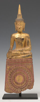 19th Century, Antique Lanna Thai Wooden Seated Buddha