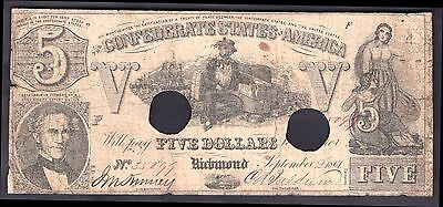 Confederate States, Five Dollars, 35899. Sept 2 1861, Nearly Fine.