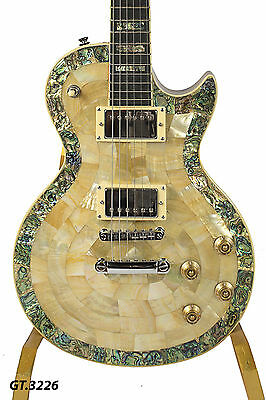 Solid Electric LP Guitar Gold Metallic Real Natura Abalone & Gold Mop Inlay 3226