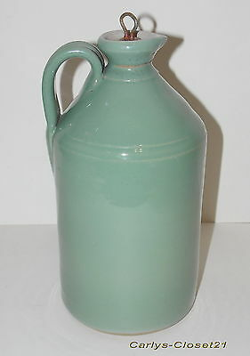 "LARGE RARE VINTAGE GLAZED STONEWARE FLAGON * Metal Screw Top * 11"" (28cm) Tall *"