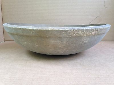 """Antique 15"""" Country Farm Turned Wood Old 1800's Utilitarian Mixing Kitchen Bowl"""