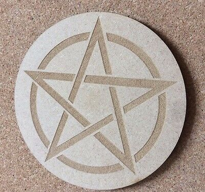 """PENTAGRAM STAR COASTER - WICCAN PAGAN WITCHCRAFT - 4"""" NEW Wooden 10cm Pentacle"""