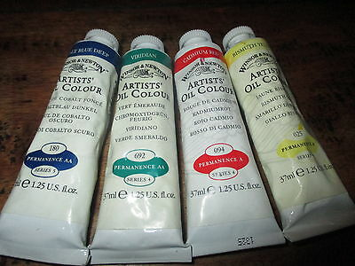 4 WINSOR & NEWTON ARTISTS OIL COLOURS  37ml***