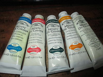 5 WINSOR & NEWTON ARTISTS OIL COLOURS  37ml****