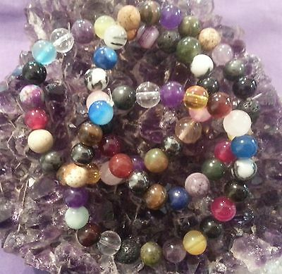 WOW - 3 HANDCRAFTED MIXED 8mm GEMSTONE STRETCHY BRACELETS - FREE POST