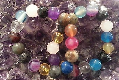 WOW - 2 HANDCRAFTED MIXED 8mm SMALL GEMSTONE STRETCHY BRACELETS - FREE POST