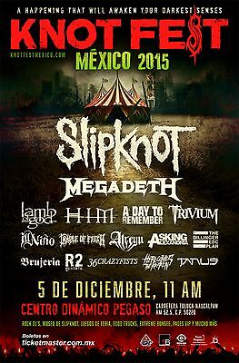 "SLIPKNOT / MEGADETH ""KNOTFEST MEXICO 2015"" CONCERT TOUR POSTER-Heavy Metal Music"