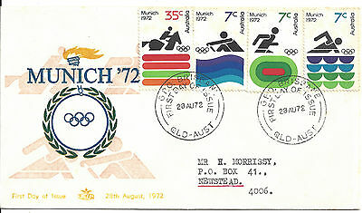 1972 Munich Olympic Games Australia FDC First Day of Issue 35c & 3 x 7c stamps