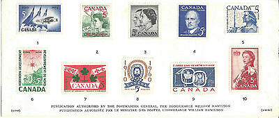 Canadian History in Postage stamps - series 3 Card with 10 x 5c Canada stamps