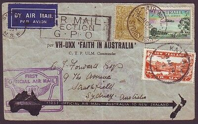 1934 Australia First Official Airmail Australia/new Zealand Aamc #370 (Ps5811)