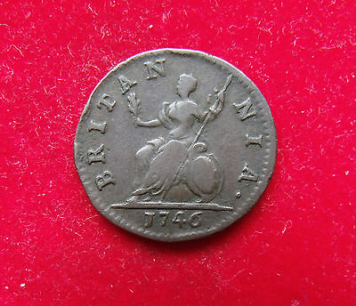 1746 Farthing George II Copper Britiish Coins nice coin see pictures