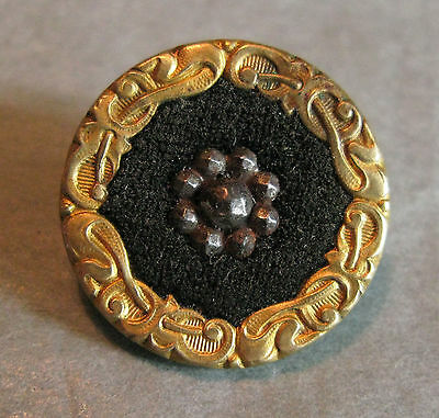 Nice Large Victorian Brass, Fabric & Steel Button 22 Mm Diam