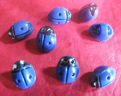 CUTE SET OF 8 1930/50'S TINY REALISTIC LADYBIRD / LADY BUG BUTTONS. 7 x 9 MM