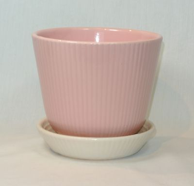 SHAWNEE Pottery Pink and White FLOWER POT Attached Saucer Large! 5 3/8  inches