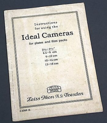 Genuine ZEISS IKON Instructions for Using IDEAL CAMERAS English Owners Manual