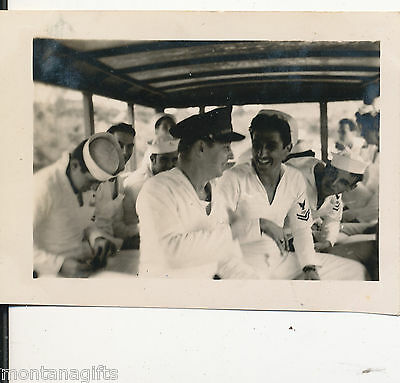 WWII 1940s  sailors catching a ride, open air,  Hawaii Photo