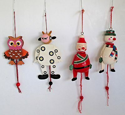 Pull String Wooden Christmas Ornaments Owl, Cow, Santa, & Snowman - 4 Pieces