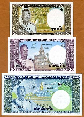 SET Lao / Laos, Kingdom, 20;50;200 Kip, ND (1963), P-11-12-13, UNC