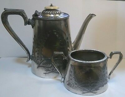Antique Fenton Bros Sheffield Coffee Pot and Sugar Bowl