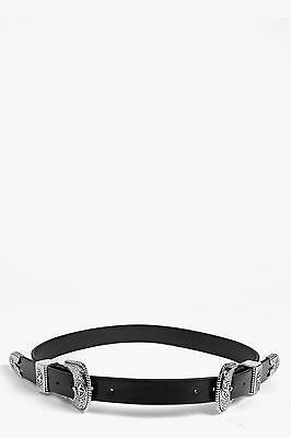 Boohoo Womens Sarah Star Western Double Buckle Belt in Black size One Size