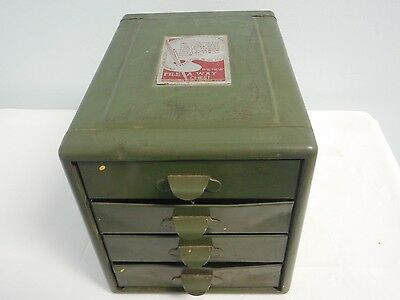 Vintage Green Metal File A Way Chest Steelmaster 4 Drawer Cabinet Small NEAT