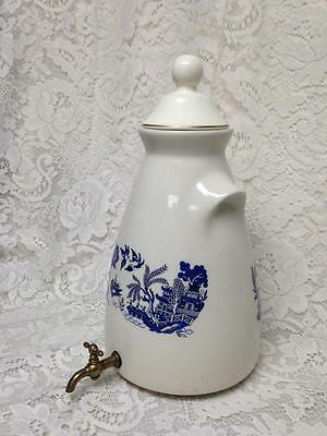 Vintage, Rare, Blue Willow 2-pc Set, Stone Water or Juice Jug with Faucet