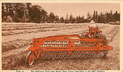 c1940s Allis Chalmers Power Driven Side-Delivery Rake and Tedder Postcard