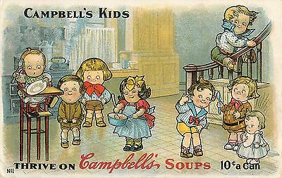 1910 Campbell's Kids - Campbell's Soup Advertising Postcard - b