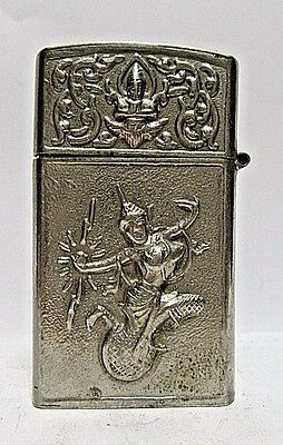 Vintage Lighter With Dancing Girl, Elephants, Working Condition, Made In Siam
