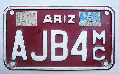Vintage Arizona Motorcycle License Plate Harley Triumph Honda Yamaha Bsa Bmw Mc