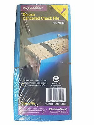 NEW Globe-Weis Accordion Deluxe Cancelled Check File 71003 Blue