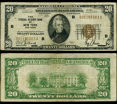 FR. 1870 B $20 1929 Federal Reserve Bank Note New York Fine+