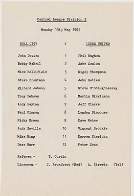 Football Programme>HULL CITY RESERVES v LEEDS UTD RESERVES May 1985