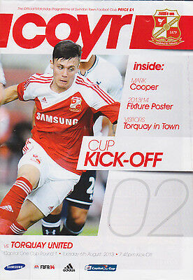 Football Programme>SWINDON TOWN v TORQUAY UNITED Aug 2013 FLC