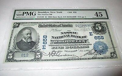 $5 1902 Brooklyn New York NY National Currency Bank Note Bill #658 Choice XF!!