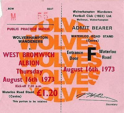 Football Ticket>WOLVES v WEST BROMWICH ALBION Aug 1973 Public Practice Match