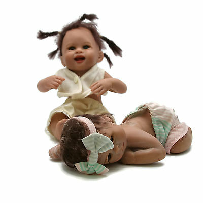 """Laura Lee Wambach Just Ducky African American Baby Doll Set Resin Ltd Ed 750 7"""""""