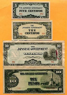 Lot of 12 Different Japanese Occupation Banknotes  WW2 Asia Ciirculated to AU