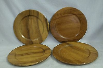"""4 Monkey Pod Dinner Plates 11-1/2"""" Wood Hand Crafted Philippines Vintage"""