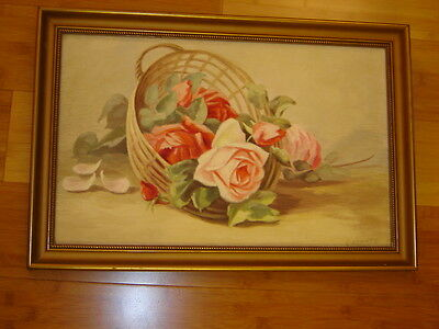 VINTAGE flower rose roses basket original hand painted oil PAINTING