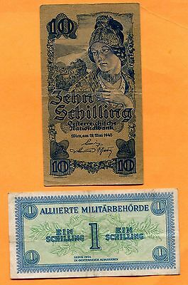 Austria Lot of 8 Obsolete Notes 1916 to 1945, Circulated to Unc