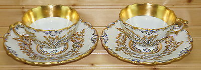 """Meissen Embossed (2) Footed Cups, 2 1/2"""" & (2) Saucers, 6 3/8"""""""