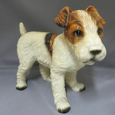 "Standing Wire Hair Fox Terrier Puppy Dog Lg Figurine 7"" Royal Crown Japan"