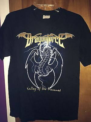 """Dragonforce """"Valley of the Damned""""(2002) USED Medium T-Shirt_Speed Guitar Metal"""
